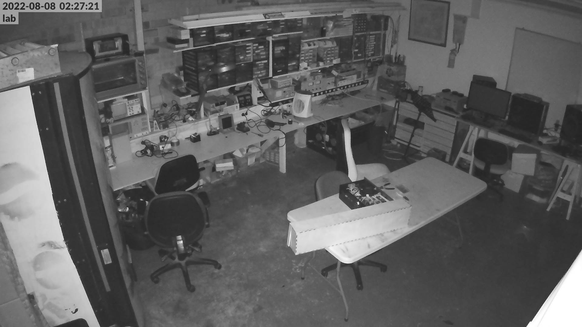 A view of the electronics lab from the foyer door